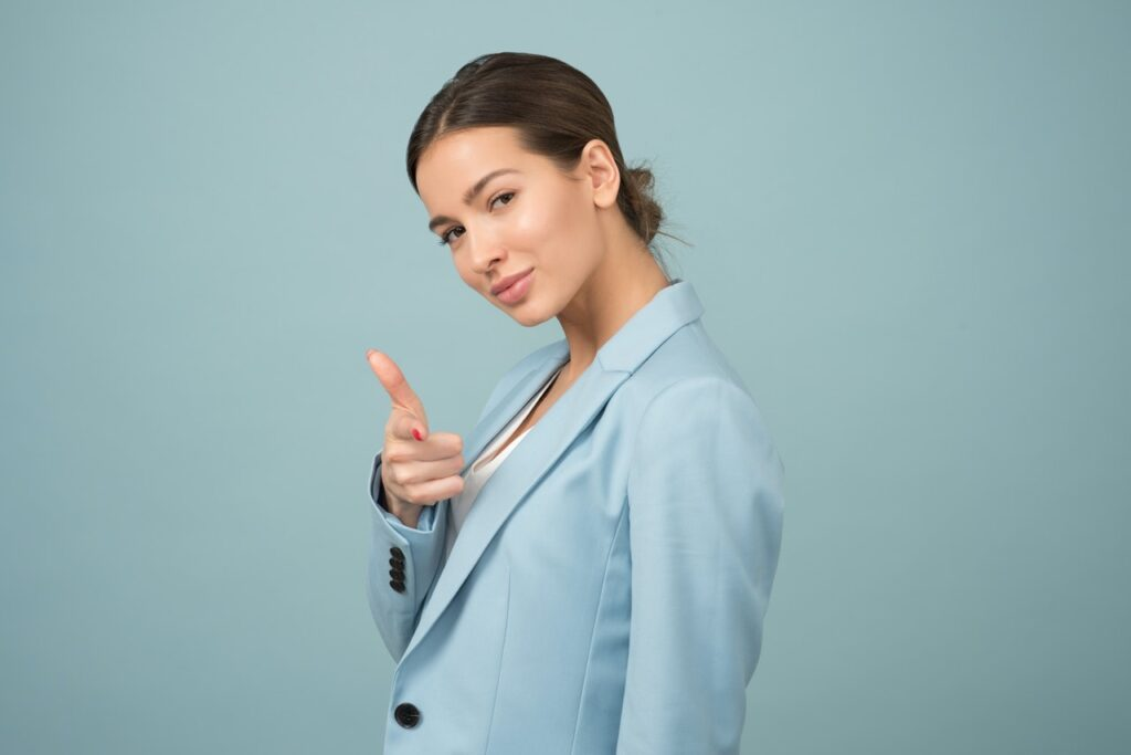 confident woman pointing
